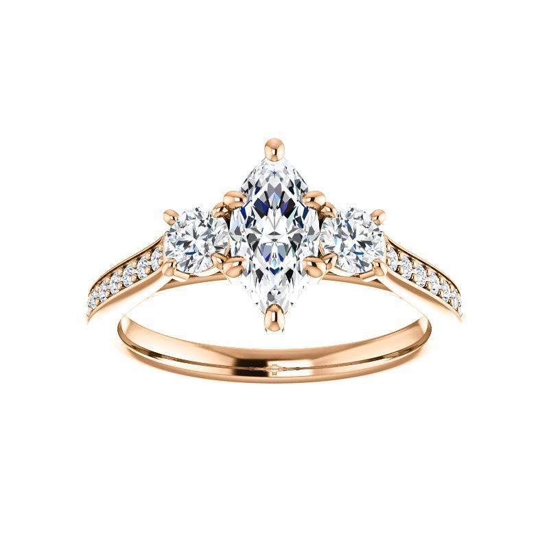 The Weston marquise moissanite engagement ring solitaire setting rose gold