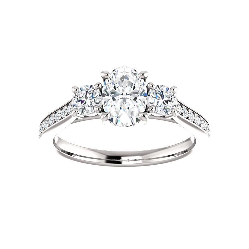 The Weston oval moissanite engagement ring solitaire setting white gold