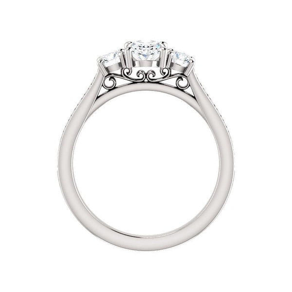 The Weston oval moissanite engagement ring solitaire setting white gold side profile