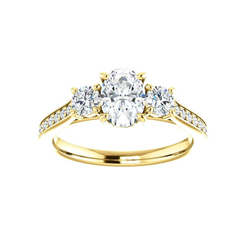 The Weston oval moissanite engagement ring solitaire setting yellow gold