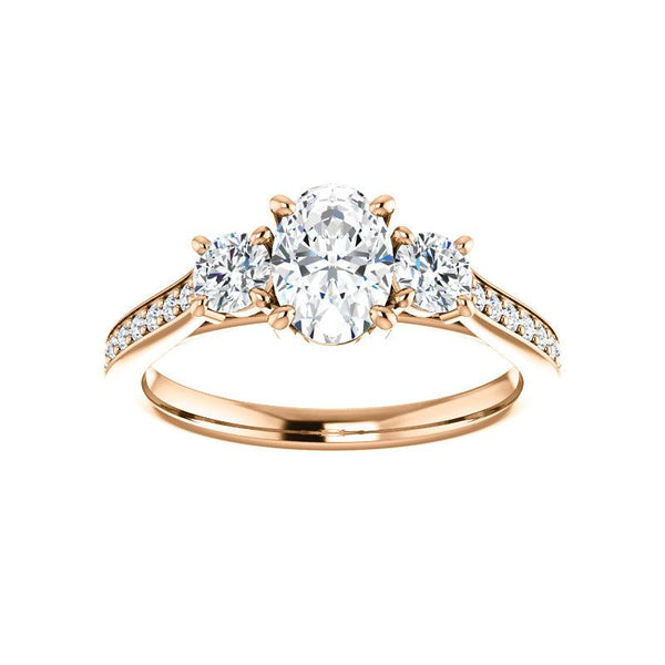 The Weston oval moissanite engagement ring solitaire setting rose gold