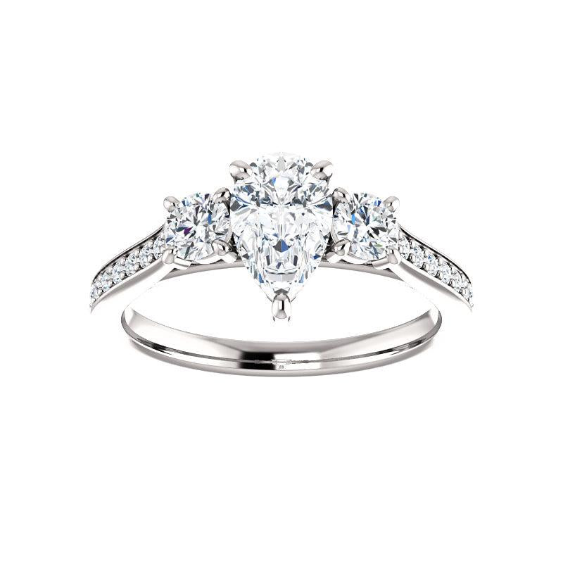 The Weston pear moissanite engagement ring solitaire setting white gold