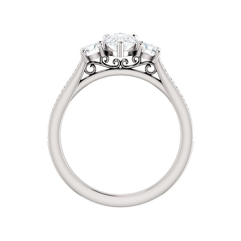 The Weston pear moissanite engagement ring solitaire setting white gold side profile