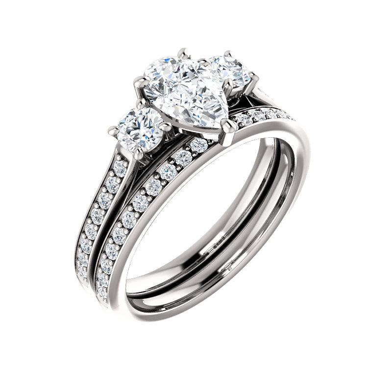 The Weston pear moissanite engagement ring solitaire setting white gold with matching band
