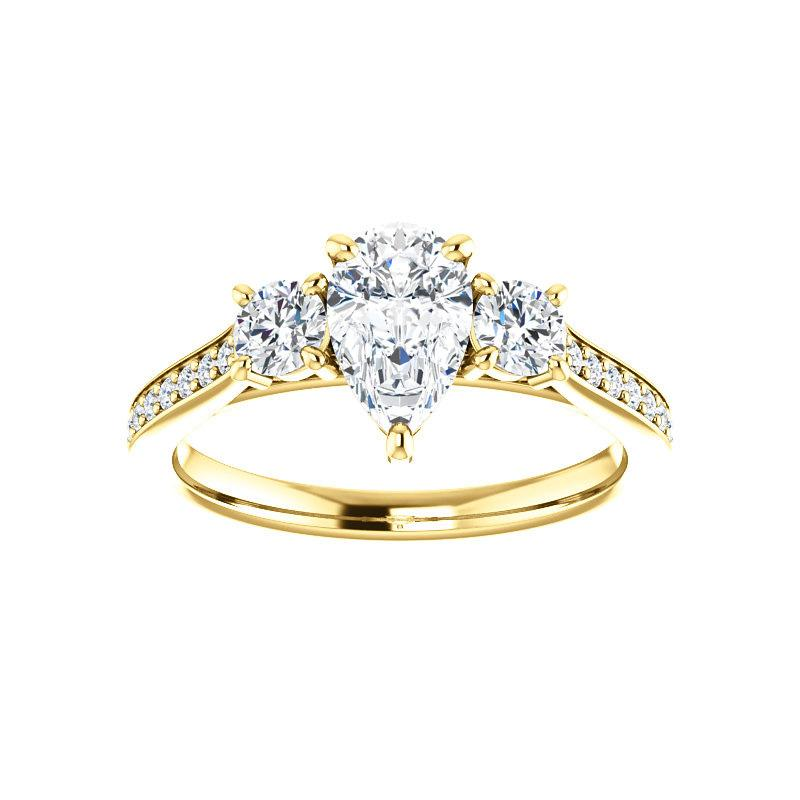 The Weston pear moissanite engagement ring solitaire setting yellow gold