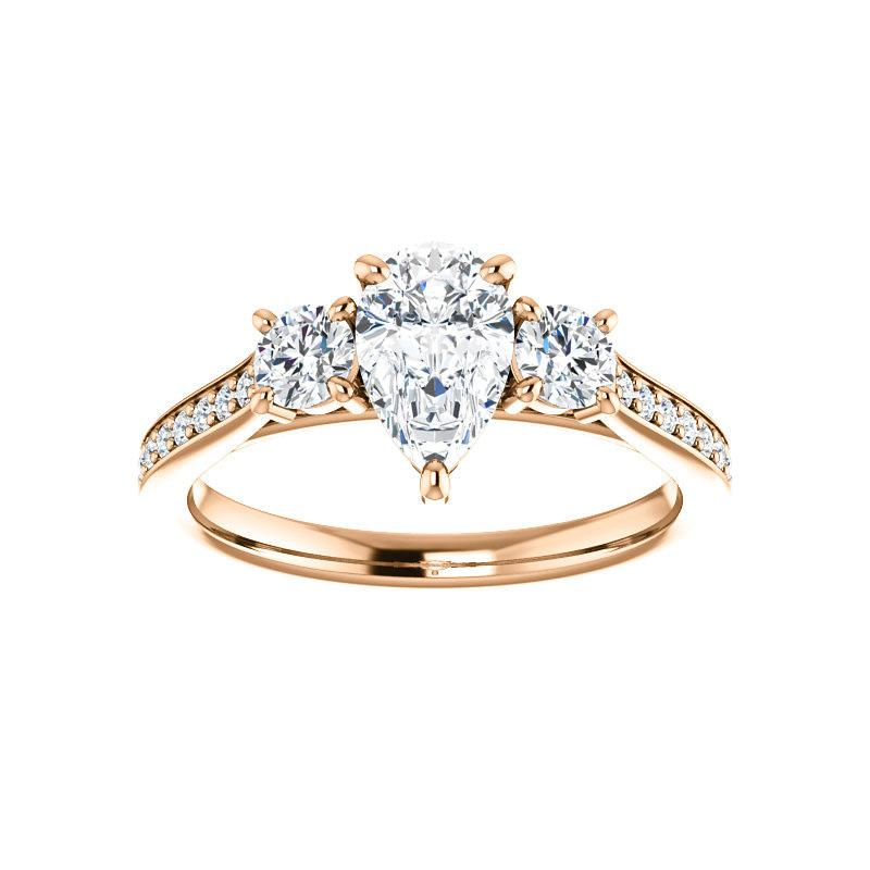 The Weston pear moissanite engagement ring solitaire setting rose gold