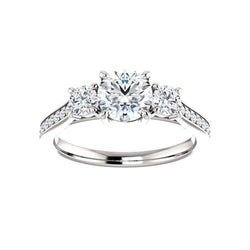 The Weston round moissanite engagement ring solitaire setting white gold