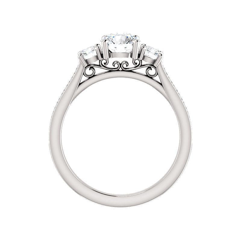 The Weston round moissanite engagement ring solitaire setting white gold side profile