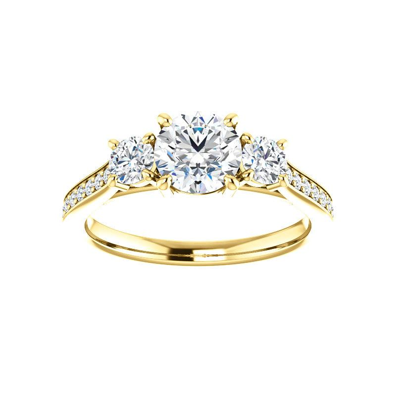 The Weston round moissanite engagement ring solitaire setting yellow gold