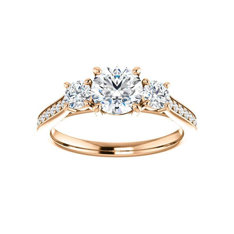 The Weston round moissanite engagement ring solitaire setting rose gold