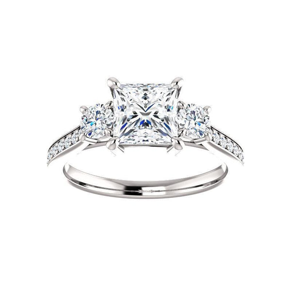 The Weston princess moissanite engagement ring solitaire setting white gold