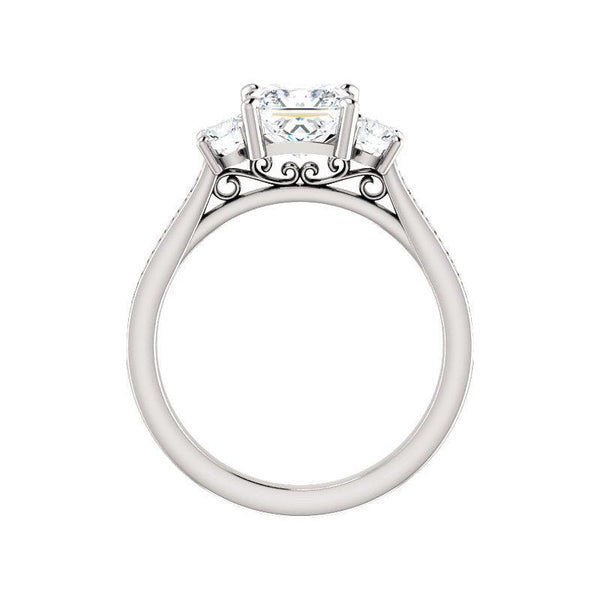 The Weston princess moissanite engagement ring solitaire setting white gold side profile
