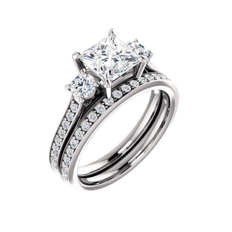 The Weston princess moissanite engagement ring solitaire setting white gold with matching band