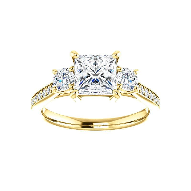 The Weston princess moissanite engagement ring solitaire setting yellow gold