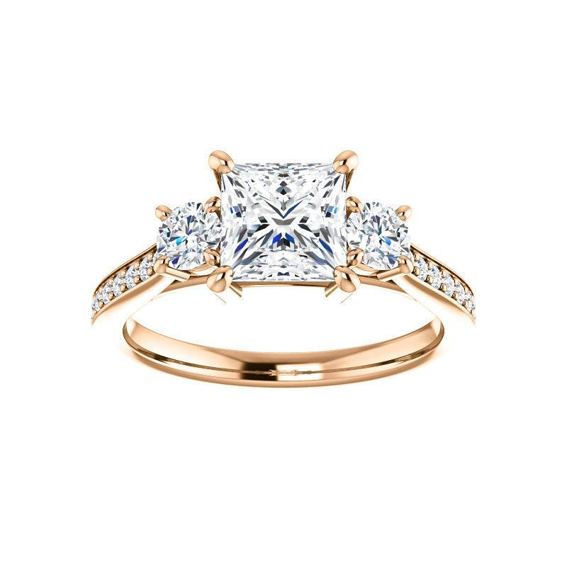 The Weston princess moissanite engagement ring solitaire setting rose gold