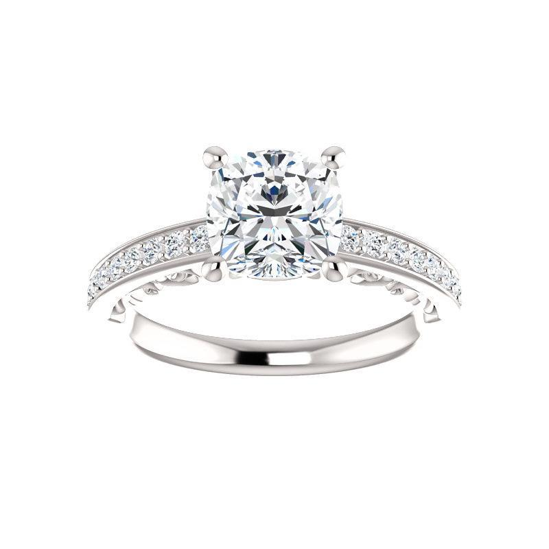 The Amelia Moissanite cushion moissanite engagement ring solitaire setting white gold