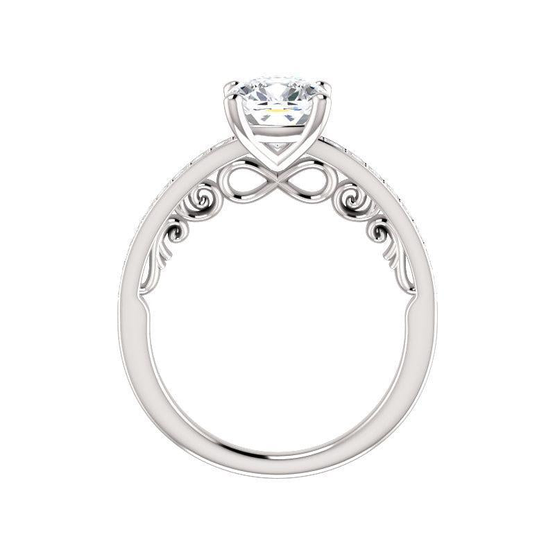 The Amelia Moissanite cushion moissanite engagement ring solitaire setting white gold side profile