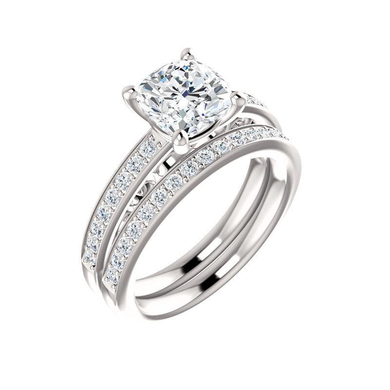 The Amelia Moissanite cushion moissanite engagement ring solitaire setting white gold with matching band