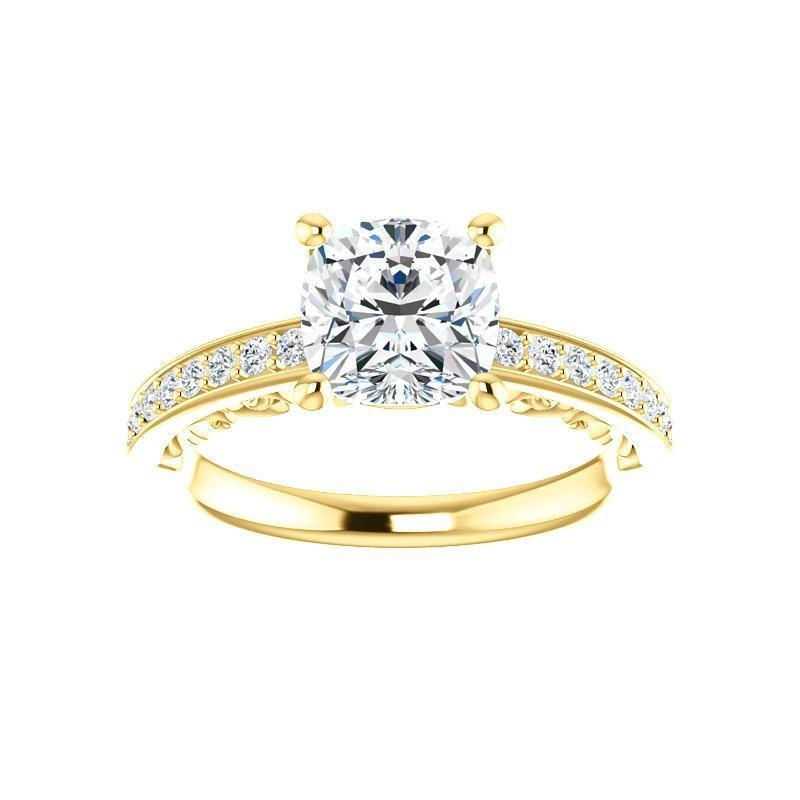 The Amelia Moissanite cushion moissanite engagement ring solitaire setting yellow gold