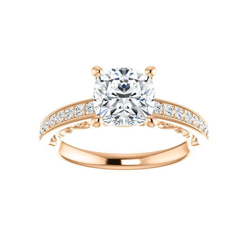 The Amelia Moissanite cushion moissanite engagement ring solitaire setting rose gold