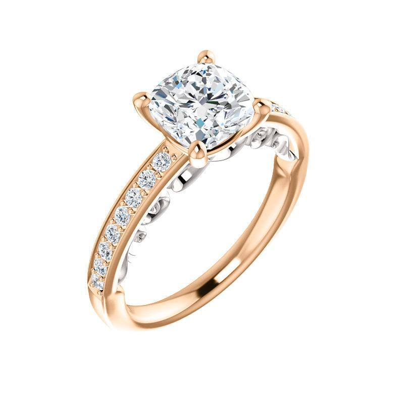 The Amelia Moissanite cushion moissanite engagement ring solitaire setting rose gold and white accent