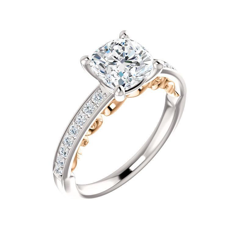 The Amelia Moissanite cushion moissanite engagement ring solitaire setting white gold and rose gold accent