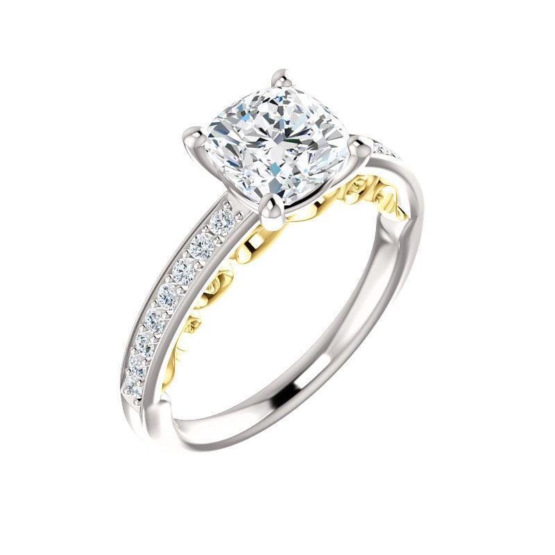 The Amelia Moissanite cushion moissanite engagement ring solitaire setting white gold and yellow gold accent