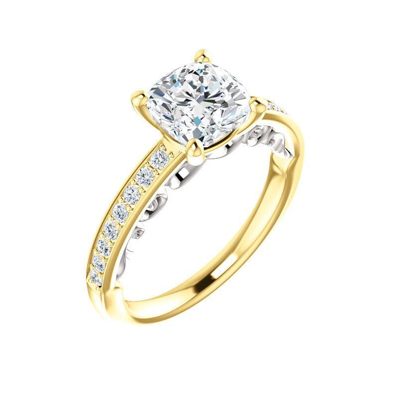 The Amelia Moissanite cushion moissanite engagement ring solitaire setting yellow gold and white gold accent