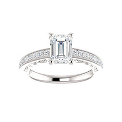 The Amelia Moissanite emerald moissanite engagement ring solitaire setting white gold