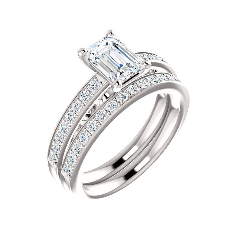 The Amelia Moissanite emerald moissanite engagement ring solitaire setting white gold with matching band