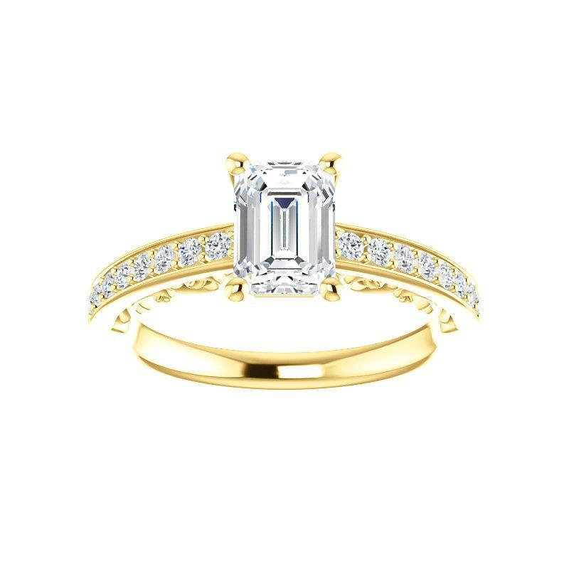 The Amelia Moissanite emerald moissanite engagement ring solitaire setting yellow gold