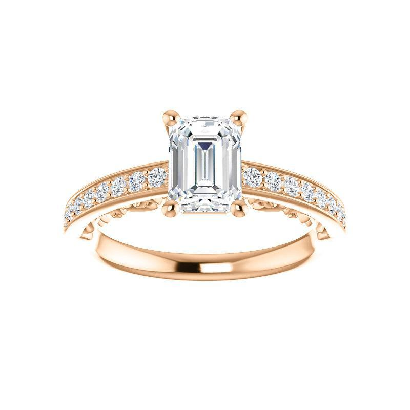 The Amelia Moissanite emerald moissanite engagement ring solitaire setting rose gold