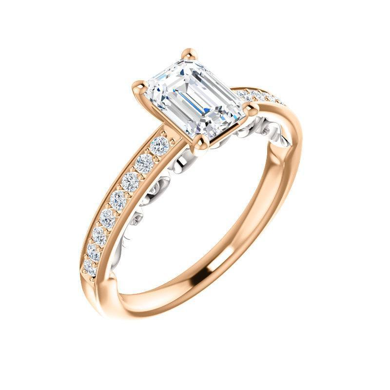 The Amelia Moissanite emerald moissanite engagement ring solitaire setting rose gold and white accent