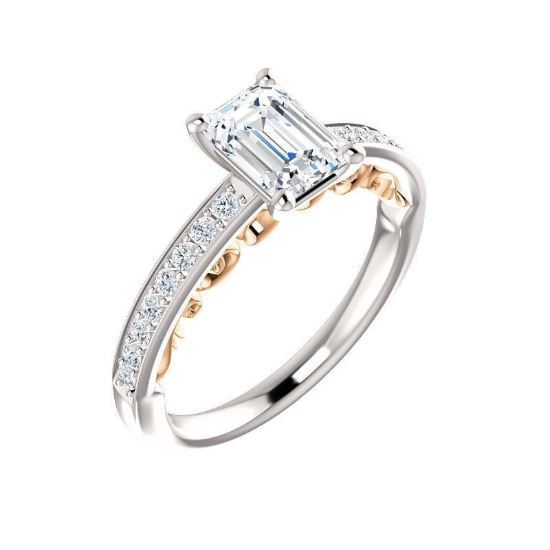 The Amelia Moissanite emerald moissanite engagement ring solitaire setting white gold and rose gold accent