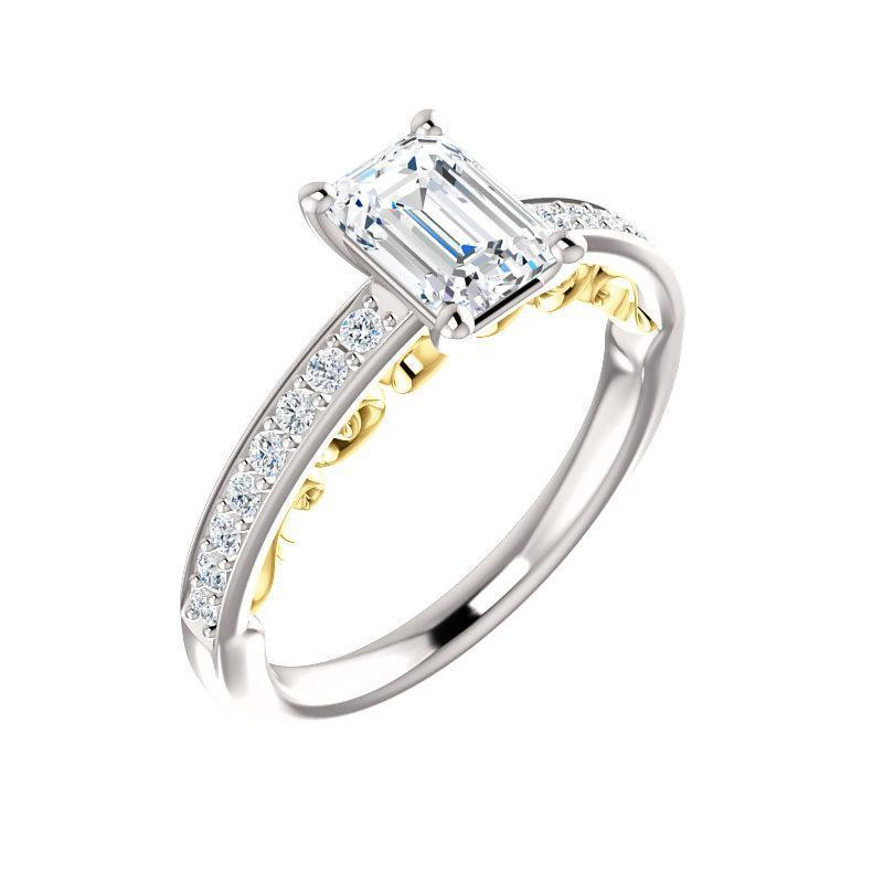 The Amelia Moissanite emerald moissanite engagement ring solitaire setting white gold and yellow gold accent