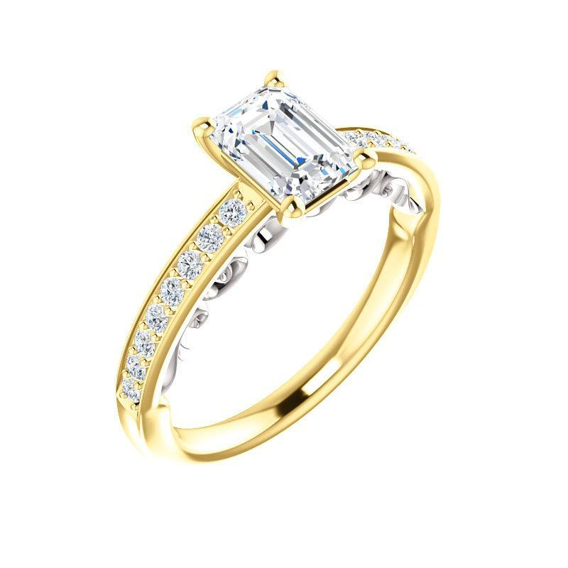 The Amelia Moissanite emerald moissanite engagement ring solitaire setting yellow gold and white gold accent