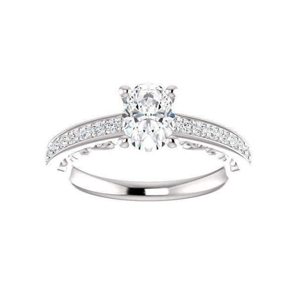 The Amelia Moissanite oval moissanite engagement ring solitaire setting white gold