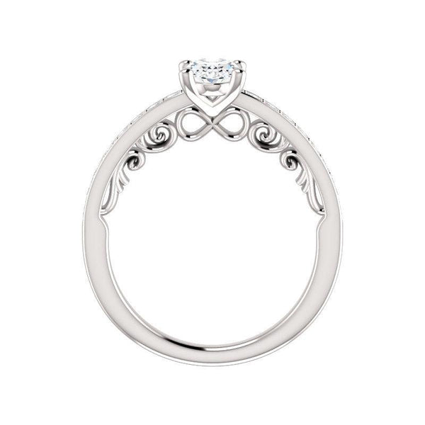 The Amelia Moissanite oval moissanite engagement ring solitaire setting white gold side profile