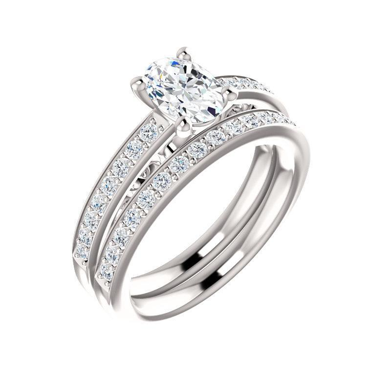 The Amelia Moissanite oval moissanite engagement ring solitaire setting white gold with matching band