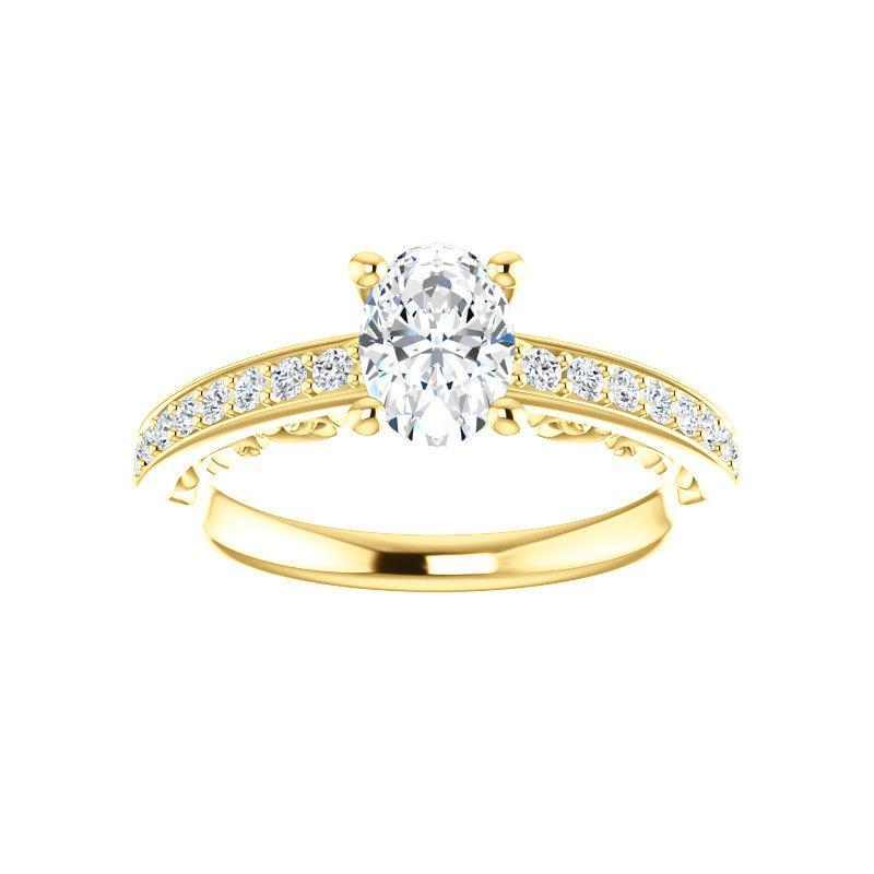 The Amelia Moissanite oval moissanite engagement ring solitaire setting yellow gold