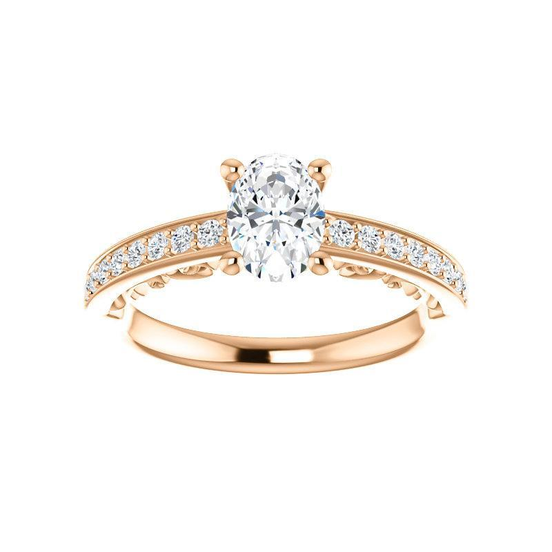 The Amelia Moissanite oval moissanite engagement ring solitaire setting rose gold