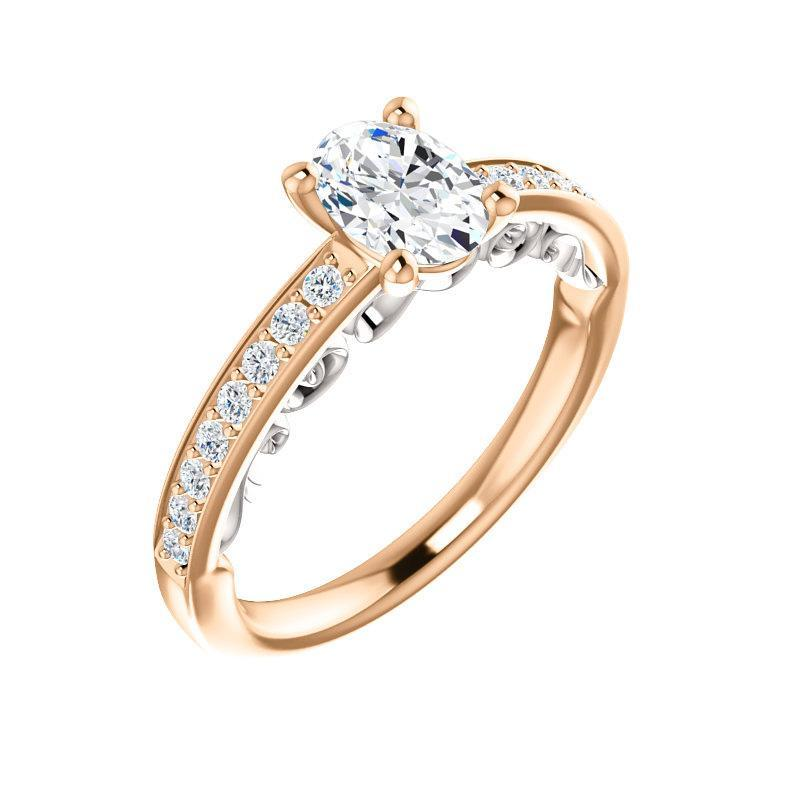 The Amelia Moissanite oval moissanite engagement ring solitaire setting rose gold and white accent
