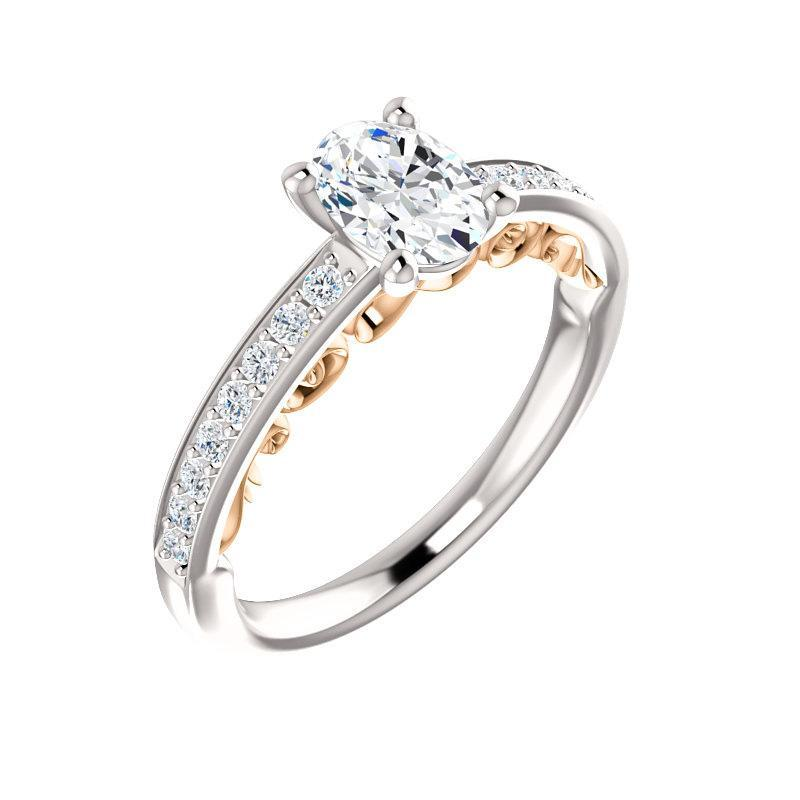 The Amelia Moissanite oval moissanite engagement ring solitaire setting white gold and rose gold accent