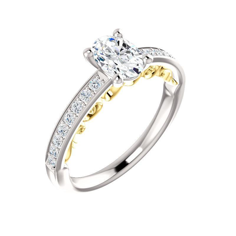 The Amelia Moissanite oval moissanite engagement ring solitaire setting white gold and yellow gold accent