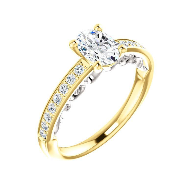 The Amelia Moissanite oval moissanite engagement ring solitaire setting yellow gold and white gold accent
