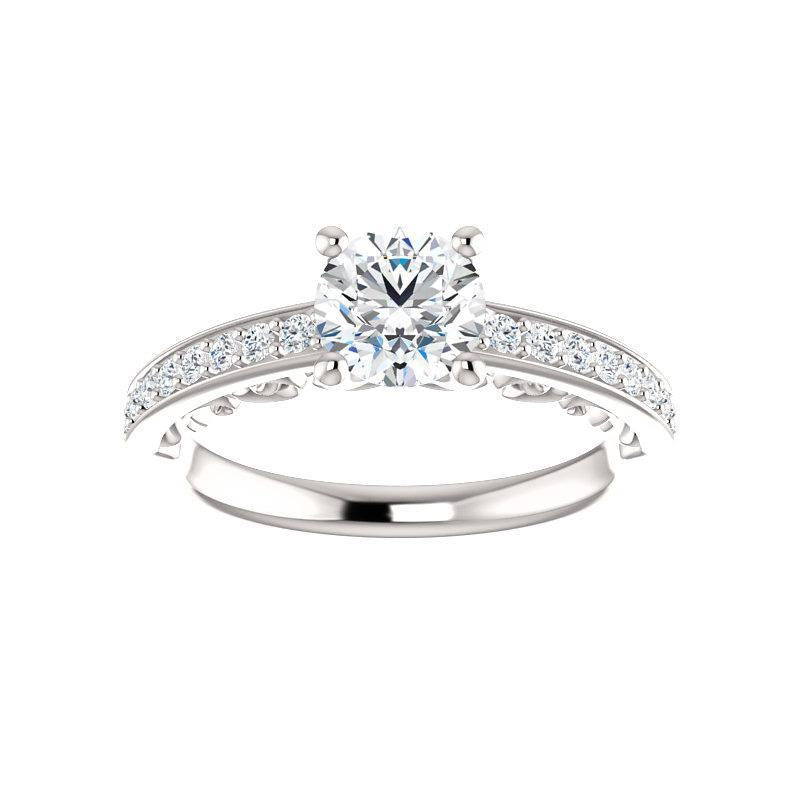 The Amelia Moissanite round moissanite engagement ring solitaire setting white gold
