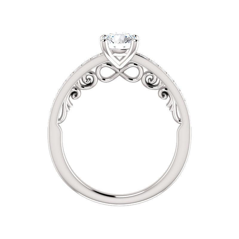 The Amelia Moissanite round moissanite engagement ring solitaire setting white gold side profile