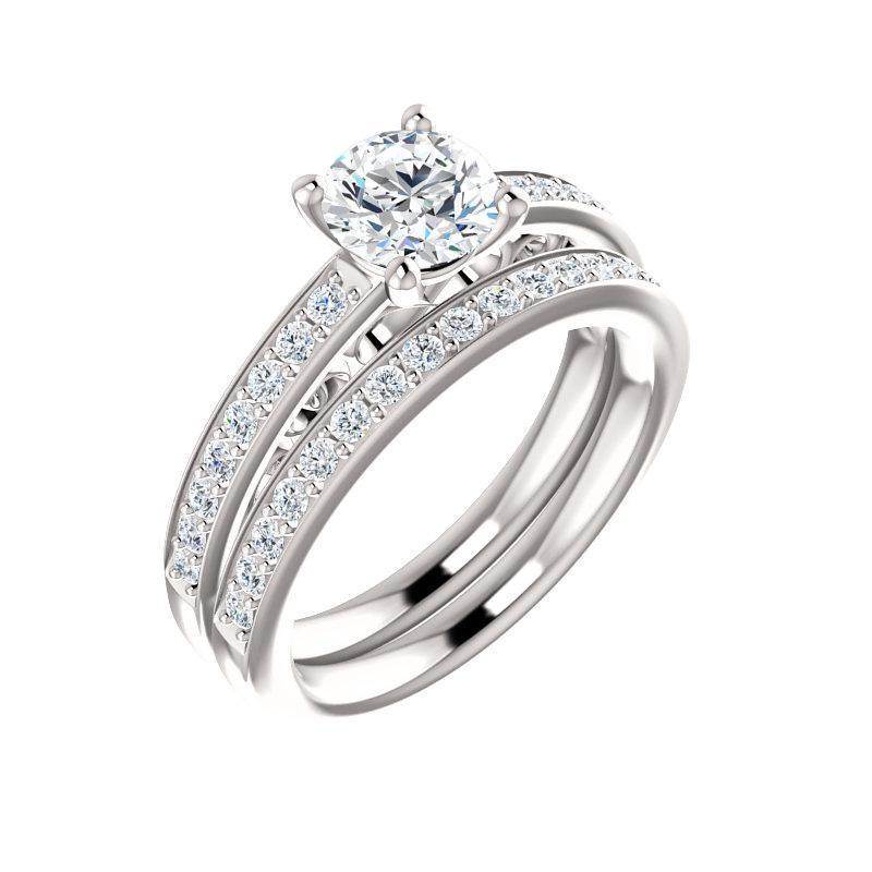 The Amelia Moissanite round moissanite engagement ring solitaire setting white gold with matching band