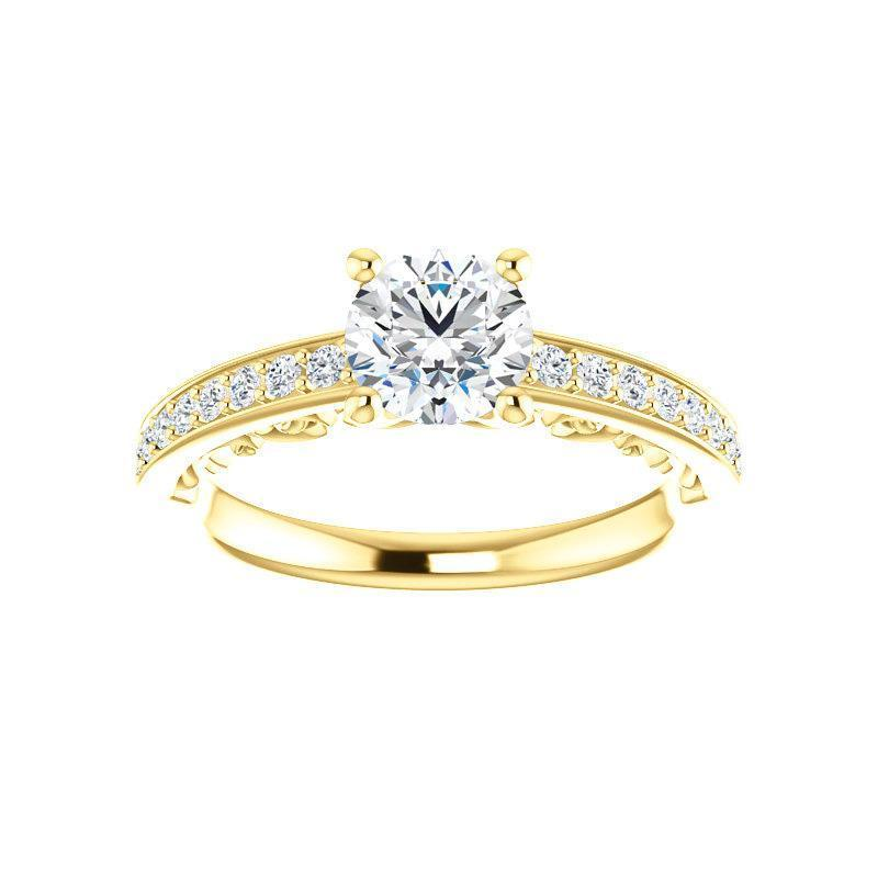 The Amelia Moissanite round moissanite engagement ring solitaire setting yellow gold
