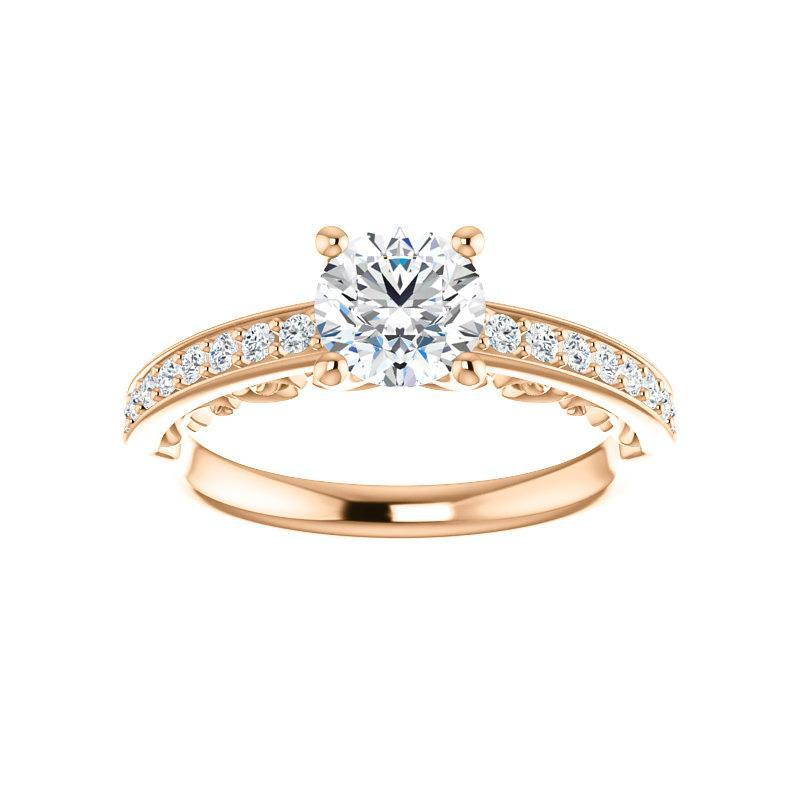 The Amelia Moissanite round moissanite engagement ring solitaire setting rose gold
